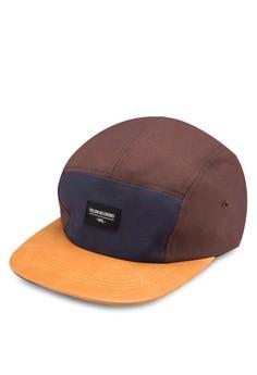 色塊仿皮平沿帽