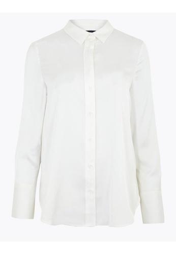 MARKS & SPENCER gold M&S Satin Long Sleeve Shirt 3AB49AA0A987E7GS_1