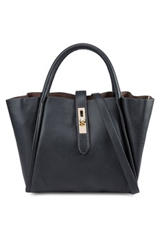 Unique Texture 2-In-1 Tote Bag Set with Turn Lock