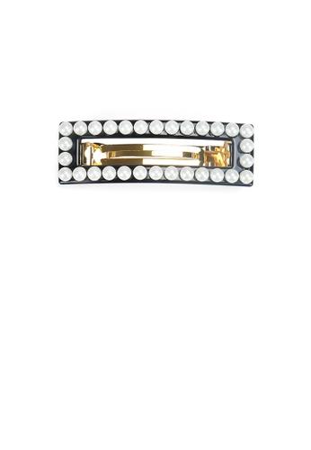 Glamorousky white Fashion Simple Black Hollow Geometric Rectangle Imitation Pearl Hair Slide 8AAF7AC5922A12GS_1