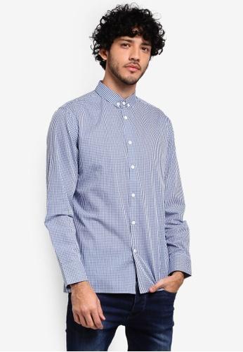 ZALORA blue Button Down Formal Checkered Long Sleeve Shirt C79EAAAEE3C026GS_1