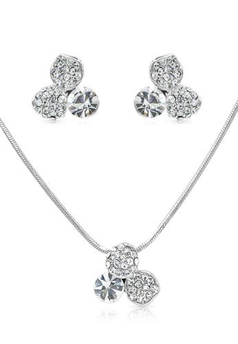 SO SEOUL silver Triple Petal Clear Austrian Crystal Earrings And Necklace Set 2CE65AC43C678DGS_1