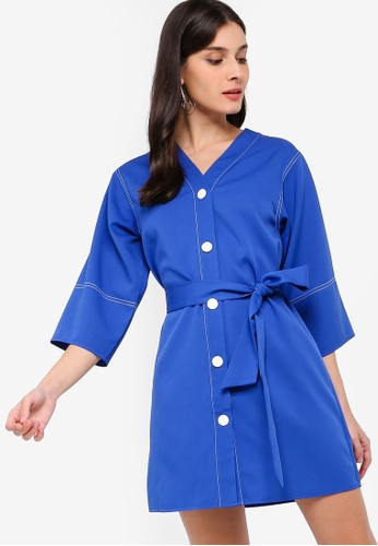 ZALORA blue Contrast Stitches Details Dress CE10AAA79E0C69GS_1