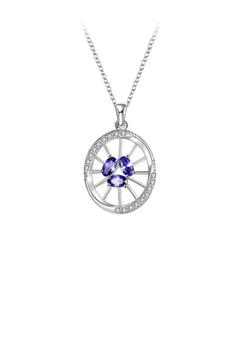 Glamorousky blue Elegant Openwork Round Pendant with Blue Austrian Element Crystal and Necklace 5D95FACF233627GS_1