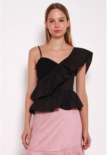 Leline Style black Amia Ruffles Top LE802AA0GN0YSG_1