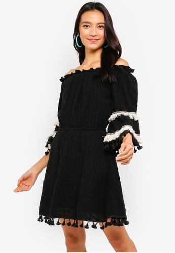 932f38cbae INDIKAH black Off Shoulder Fringe   Tassel Hem Skater Dress  24B07AAEF37AFAGS 1
