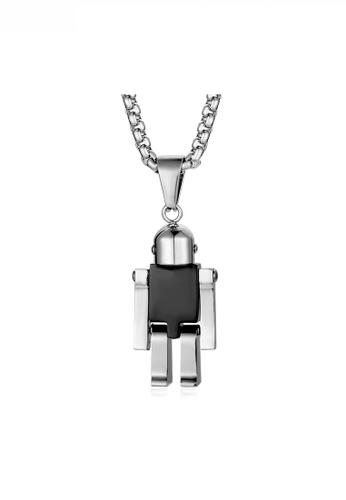 HAPPY FRIDAYS black Stylish Robot Pendant Necklace JW QF-DZ191 96CFAACBBEF4E2GS_1