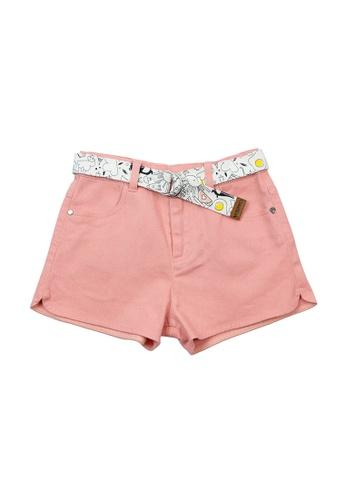 Vauva pink Vauva Girls Pink Basic Shorts w/ Fantasy Forest Belt B56C0KAB3A57C3GS_1
