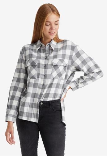 LC Waikiki grey Neck Detail Checkered Tunic Shirt E4F14AA8914345GS_1