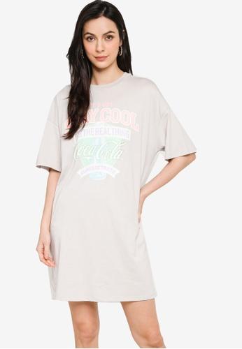 H&M grey and multi Printed T-Shirt Dress C726BAAB2C62B9GS_1