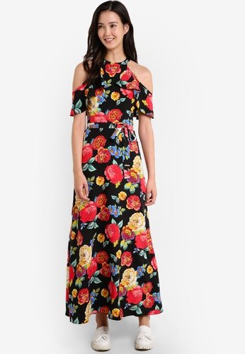 Dorothy Perkins black Floral Cold Shoulder Maxi Dress DO816AA0RCHGMY_1