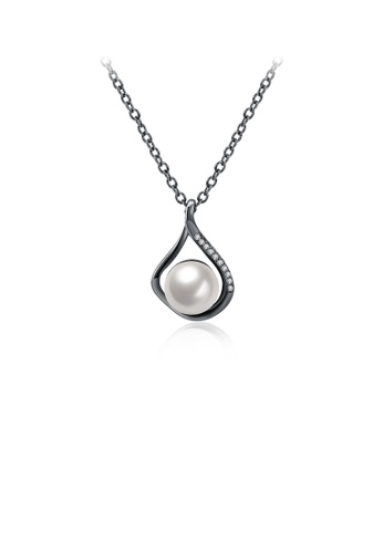 Glamorousky white Elegant Water Drop-shaped Pearl Pendant with Necklace 4F119ACD53AF11GS_1