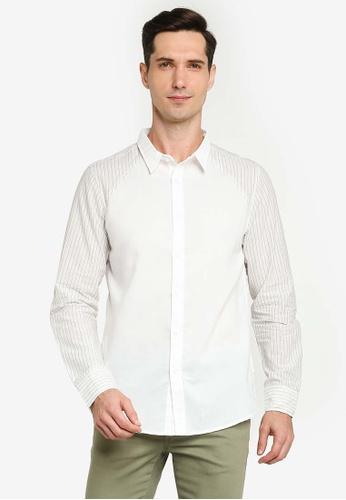 ZALORA BASICS white Raglan Button Down Long Sleeve Shirt 79C39AAC313402GS_1