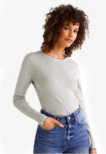 Mango grey Ribbed Cotton-Blend Sweater 99AC4AA68D1636GS_1