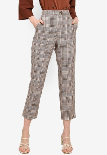 Zalia brown Checked tapered pants FB5A9AA2E2108AGS_1