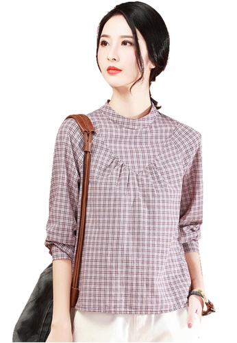 A-IN GIRLS multi Retro Stand-Up Collar Checkered Blouse F161CAAD643A76GS_1