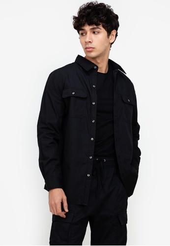 ZALORA BASICS black Utility-Style OverShirt B6BA5AAADDBB76GS_1