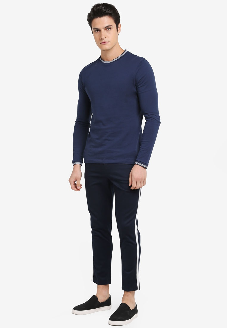 Cropped Stripe Trousers Topman Skinny Dark Blue 775Aqxw
