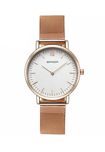 SANDA gold SANDA 208 Luxury Ultra Thin Stainless Steel Quartz Women Watch (Rosegold White) 9E9E2ACD57887FGS_1