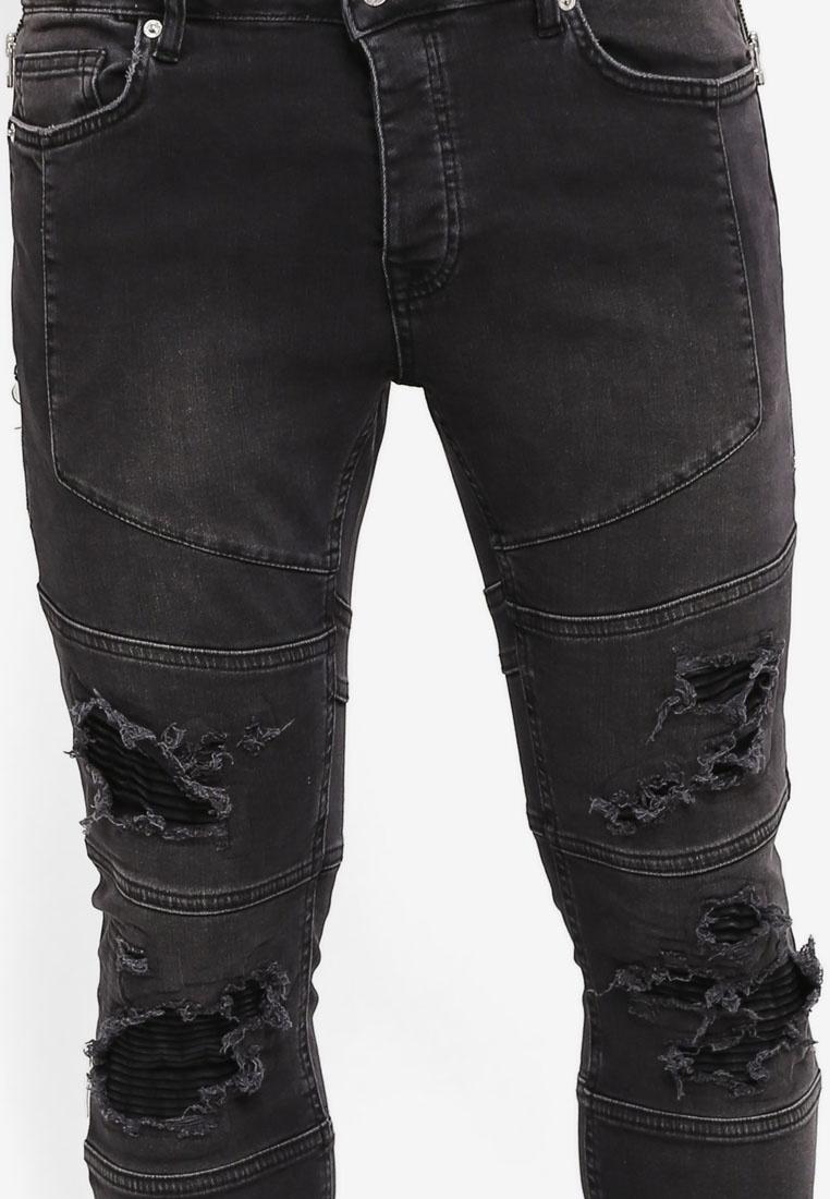 Topman Ripped Black Zip Jeans Biker Black gIqf00