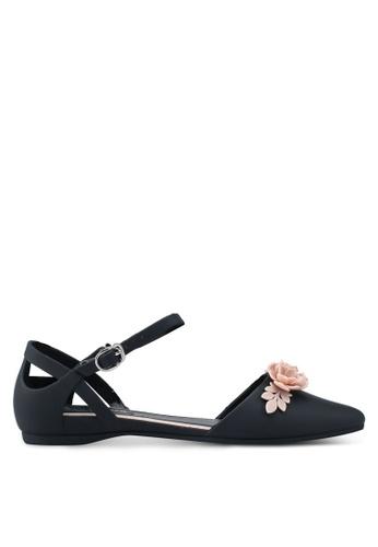 Twenty Eight Shoes 黑色 金屬飾繞踝平底鞋 335D0SH8EABEAEGS_1