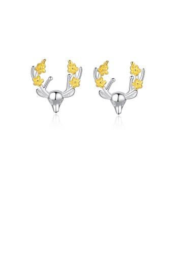 Glamorousky silver 925 Sterling Silver Simple Cute Christmas Elk Stud Earrings F4D98AC1F44F51GS_1