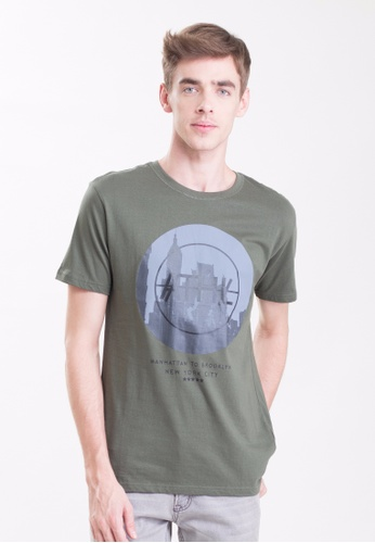 Drum Army Green Graphic Tee DR425AA0S7GWMY_1