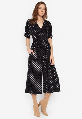 09e2f444fdb Twenteen black Knitted Tie Belt Dotted Culotte Jumpsuit 8636EAA14B204AGS 1
