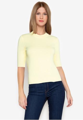 ZALORA BASICS yellow Mock Neck Knit Top 67118AA7A9FBCFGS_1