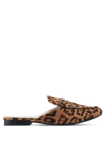 Nose 褐色 Leopard Loafer Mules E4E80SH5A25728GS_1