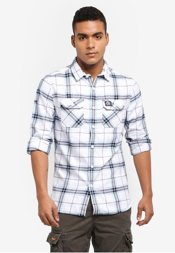 Superdry 白色 休閒格紋襯衫 F9911AADA6006CGS_1