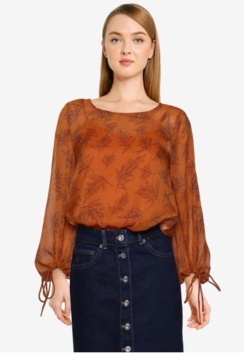 French Connection brown Esma Crinkle Top 4F9D9AA006AEF0GS_1