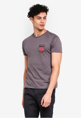 Penshoppe 灰色 短袖印花T恤 71239AAFBE4A28GS_1