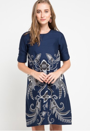 Rianty Batik navy Dress Gilberta 8F8BAAAB2DAACDGS_1