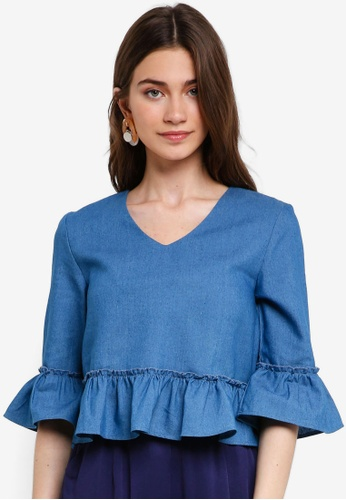 Something Borrowed blue Flare Sleeves Top With Ruffle Detail E190AAAC1DBC29GS_1
