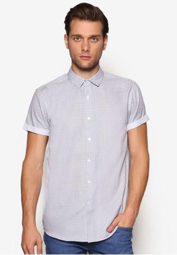 印花休閒短袖襯衫, 服飾, 襯esprit官網衫