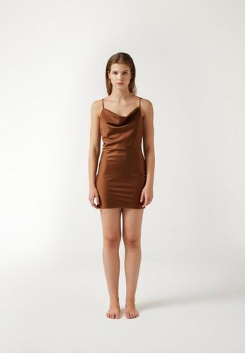 Annibody brown PAIGE Mini Dress - Mocha F953BAAFE19BBBGS_1