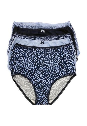 MARKS & SPENCER blue M&S 5 Pack Cotton Lycra Animal Print Full Briefs E97BAUS68CF69DGS_1