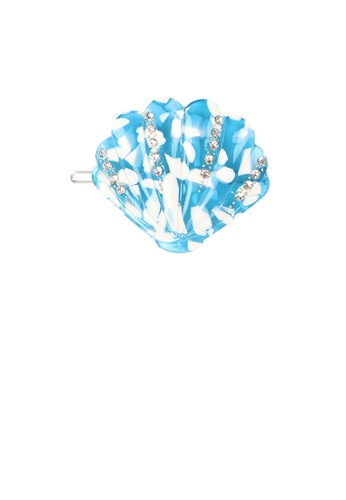 Glamorousky white Simple and Sweet Light Blue Shell Hair Clip with Cubic Zirconia 6B6D4AC85F3280GS_1