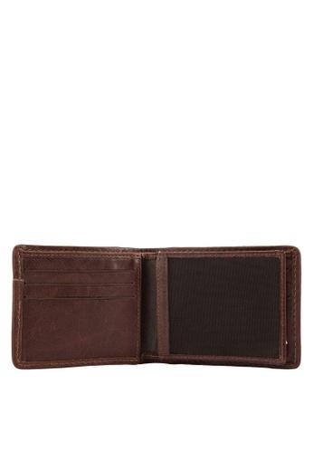 Volkswagen brown Volkswagen Genuine Leather & Canvas Bi-Fold Wallet VO089AC94EJXMY_1