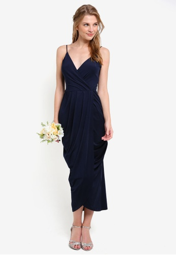 ZALORA navy Bridesmaid Wrapped Cami Maxi Dress B880FAAB981B6FGS_1
