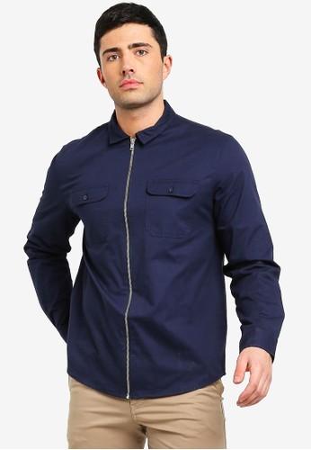 Brave Soul navy Zip Through Shirt 5E5D7AA17879B6GS_1