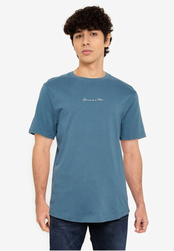 Abercrombie & Fitch blue Curved Hem T-Shirt B5076AA3EAD607GS_1