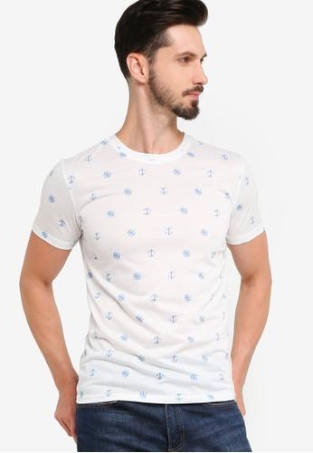 ZALORA BASICS white Anchor Micro Landscape Print T-Shirt 3322DAA3C7EA10GS_1