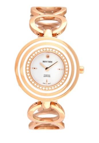 Rhythm L1302S 05 - Jam Tangan Wanita - Stainless - Rose Gold White