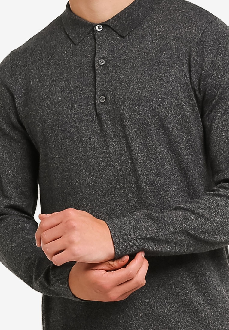 Polo Charcoal Knitted London Shirt Menswear Burton Grey SxO1UgwqP
