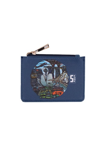 Klosh blue and navy Singapore Memories Collection - City Landmark Card Case 00C18AC571398AGS_1