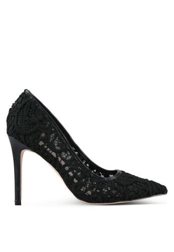 Velvet black Crochet Lace Pump Heels 662B1ZZED4BBB6GS_1