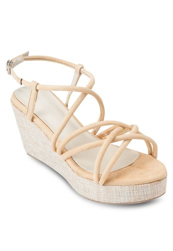 交叉多帶楔型跟厚底涼鞋,zalora 包包評價 女鞋, 楔形涼鞋