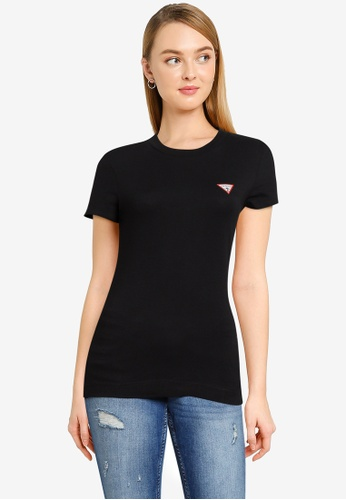 GUESS black Short Sleeve Crew Neck Mini Triangle Tee AF568AA839060FGS_1